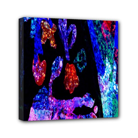 Grunge Abstract In Black Grunge Effect Layered Images Of Texture And Pattern In Pink Black Blue Red Mini Canvas 6  X 6