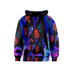 Grunge Abstract In Black Grunge Effect Layered Images Of Texture And Pattern In Pink Black Blue Red Kids  Pullover Hoodie by Nexatart