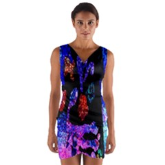 Grunge Abstract In Black Grunge Effect Layered Images Of Texture And Pattern In Pink Black Blue Red Wrap Front Bodycon Dress by Nexatart