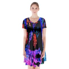 Grunge Abstract In Black Grunge Effect Layered Images Of Texture And Pattern In Pink Black Blue Red Short Sleeve V Neck Flare Dress by Nexatart