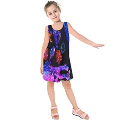 Grunge Abstract In Black Grunge Effect Layered Images Of Texture And Pattern In Pink Black Blue Red Kids  Sleeveless Dress by Nexatart