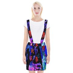 Grunge Abstract In Black Grunge Effect Layered Images Of Texture And Pattern In Pink Black Blue Red Suspender Skirt by Nexatart