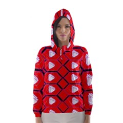 Red Bee Hive Background Hooded Wind Breaker (women)
