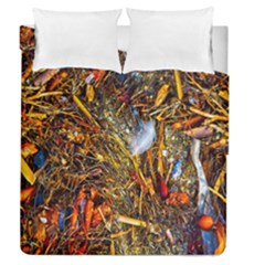 Abstract In Orange Sealife Background Abstract Of Ocean Beach Seaweed And Sand With A White Feather Duvet Cover Double Side (queen Size)