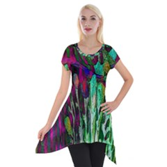 Bright Tropical Background Abstract Background That Has The Shape And Colors Of The Tropics Short Sleeve Side Drop Tunic by Nexatart