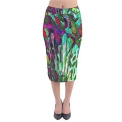 Bright Tropical Background Abstract Background That Has The Shape And Colors Of The Tropics Velvet Midi Pencil Skirt by Nexatart