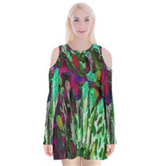 Bright Tropical Background Abstract Background That Has The Shape And Colors Of The Tropics Velvet Long Sleeve Shoulder Cutout Dress