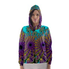 Beautiful Mandala Created With Fractal Forge Hooded Wind Breaker (women)