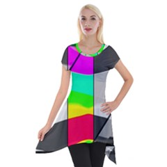 Colors Fadeout Paintwork Abstract Short Sleeve Side Drop Tunic