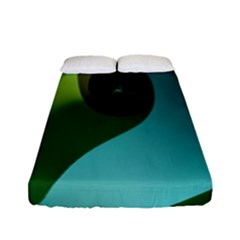 Ribbons Of Blue Aqua Green And Orange Woven Into A Curved Shape Form This Background Fitted Sheet (full/ Double Size) by Nexatart