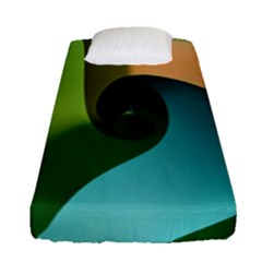 Ribbons Of Blue Aqua Green And Orange Woven Into A Curved Shape Form This Background Fitted Sheet (single Size) by Nexatart