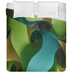 Ribbons Of Blue Aqua Green And Orange Woven Into A Curved Shape Form This Background Duvet Cover Double Side (california King Size)