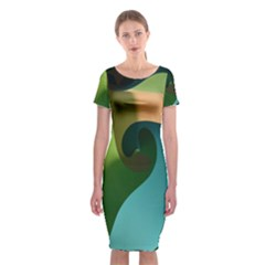 Ribbons Of Blue Aqua Green And Orange Woven Into A Curved Shape Form This Background Classic Short Sleeve Midi Dress by Nexatart