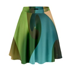 Ribbons Of Blue Aqua Green And Orange Woven Into A Curved Shape Form This Background High Waist Skirt by Nexatart