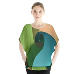 Ribbons Of Blue Aqua Green And Orange Woven Into A Curved Shape Form This Background Blouse by Nexatart