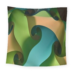Ribbons Of Blue Aqua Green And Orange Woven Into A Curved Shape Form This Background Square Tapestry (large) by Nexatart