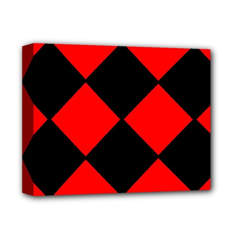 Red Black Square Pattern Deluxe Canvas 14  X 11