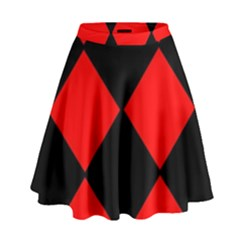 Red Black Square Pattern High Waist Skirt by Nexatart