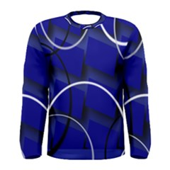 Blue Abstract Pattern Rings Abstract Men s Long Sleeve Tee by Nexatart