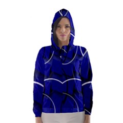 Blue Abstract Pattern Rings Abstract Hooded Wind Breaker (women)