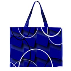 Blue Abstract Pattern Rings Abstract Zipper Large Tote Bag