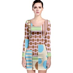 Part Background Image Long Sleeve Bodycon Dress by Nexatart