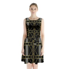 Simple Art Deco Style Art Pattern Sleeveless Chiffon Waist Tie Dress by Nexatart