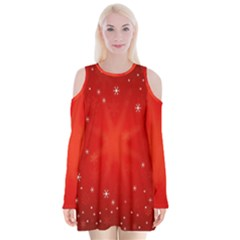 Red Holiday Background Red Abstract With Star Velvet Long Sleeve Shoulder Cutout Dress