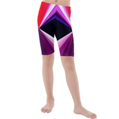 Red And Purple Triangles Abstract Pattern Background Kids  Mid Length Swim Shorts by Nexatart