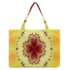 Yellow Digital Kaleidoskope Computer Graphic Medium Zipper Tote Bag by Nexatart