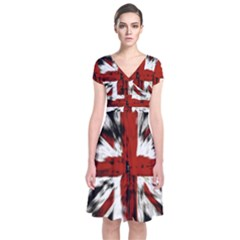 British Flag Short Sleeve Front Wrap Dress