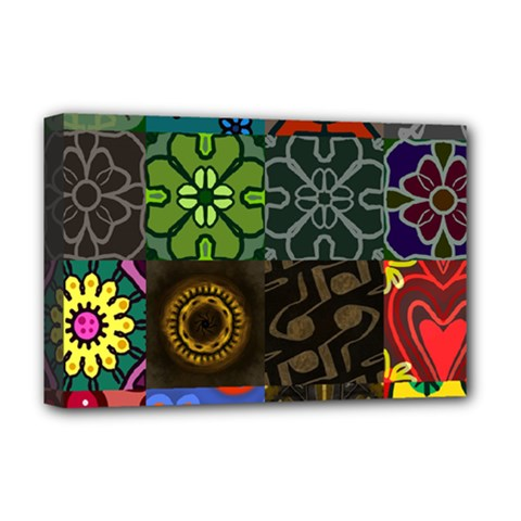 Digitally Created Abstract Patchwork Collage Pattern Deluxe Canvas 18  X 12   by Nexatart