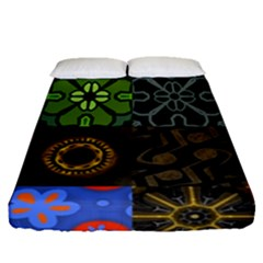Digitally Created Abstract Patchwork Collage Pattern Fitted Sheet (queen Size) by Nexatart