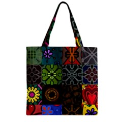 Digitally Created Abstract Patchwork Collage Pattern Zipper Grocery Tote Bag by Nexatart