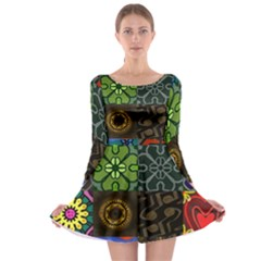 Digitally Created Abstract Patchwork Collage Pattern Long Sleeve Skater Dress