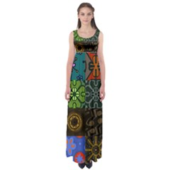 Digitally Created Abstract Patchwork Collage Pattern Empire Waist Maxi Dress by Nexatart