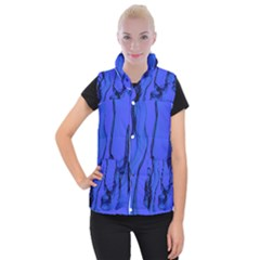 Blue Velvet Ribbon Background Women s Button Up Puffer Vest by Nexatart