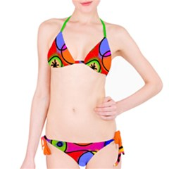Digitally Painted Patchwork Shapes With Bold Colours Bikini Set