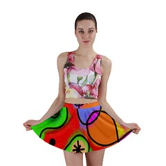 Digitally Painted Patchwork Shapes With Bold Colours Mini Skirt