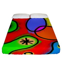Digitally Painted Patchwork Shapes With Bold Colours Fitted Sheet (king Size) by Nexatart
