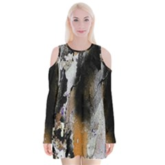 Abstract Graffiti Background Velvet Long Sleeve Shoulder Cutout Dress by Nexatart