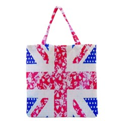 British Flag Abstract British Union Jack Flag In Abstract Design With Flowers Grocery Tote Bag