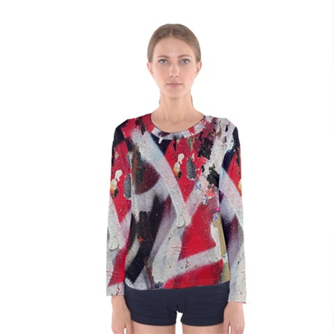 Abstract Graffiti Background Wallpaper Of Close Up Of Peeling Women s Long Sleeve Tee by Nexatart