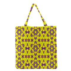 Yellow Seamless Wallpaper Digital Computer Graphic Grocery Tote Bag by Nexatart