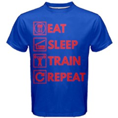 Blue & Red Eat Sleep Train Repeat Men s Cotton Tee by ThinkOutisdeTheBox