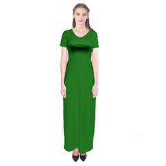 Dark Plain Green Short Sleeve Maxi Dress by Jojostore