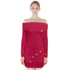 Alaska Star Red Yellow Long Sleeve Off Shoulder Dress by Jojostore