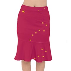 Alaska Star Red Yellow Mermaid Skirt by Jojostore