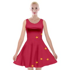 Alaska Star Red Yellow Velvet Skater Dress by Jojostore