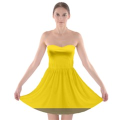 Trolley Yellow Brown Tropical Strapless Bra Top Dress by Jojostore